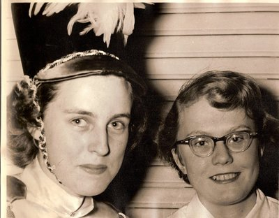 Barb Priestly and Jean Crutcher, Majorettes, Township of Trafalgar Police Boys Band, late 1950's