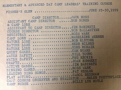 Elementary & Advanced Day Camp Leaders' Training Course, Fisher's Glen, June 25-30, 1959