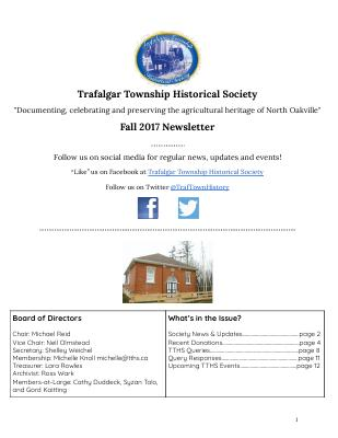 Trafalgar Township Historical Society Newsletter 2017 Fall