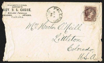 Envelope Sent from the Methodist Episcopal Parsonage in Palermo, Ontario, 1893-1895