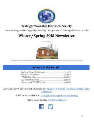 Trafalgar Township Historical Society Newsletter 2018 Winter_Spring
