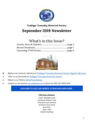 Trafalgar Township Historical Society Newsletter September 2019
