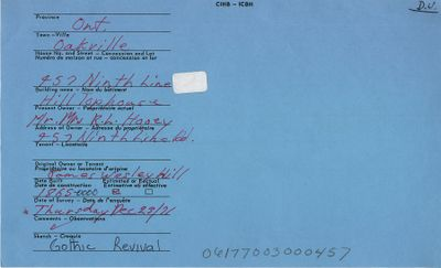 457 Ninth Line, Oakville, Canadian Inventory of Heritage Buildings, 1971