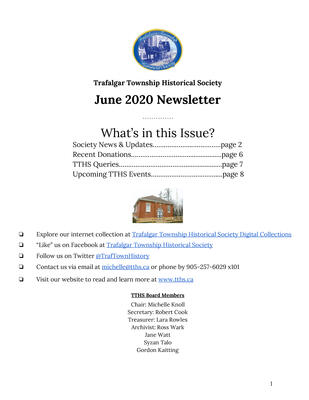 Trafalgar Township Historical Society Newsletter June 2020