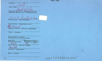 2065 Sixth Line, Oakville, Canadian Inventory of Heritage Buildings, 1972