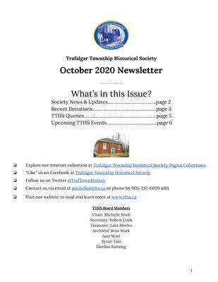 Trafalgar Township Historical Society Newsletter October 2020