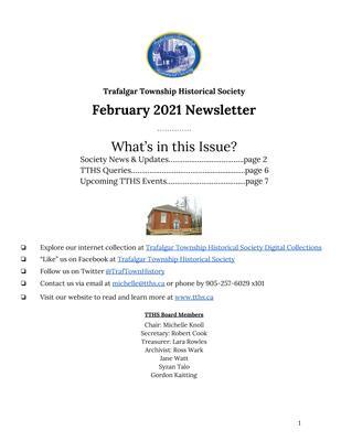 Trafalgar Township Historical Society Newsletter February 2021