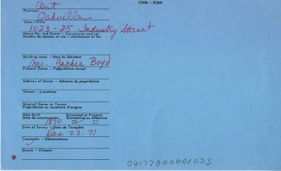 1023-25 Industry St., Oakville, Canadian Inventory of Heritage Buildings, 1971