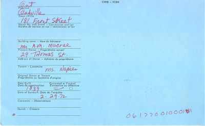 181 Front, Oakville, Canadian Inventory of Heritage Buildings, 1972