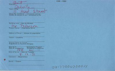 11 Head Street, Oakville, Canadian Inventory of Heritage Buildings, 1971