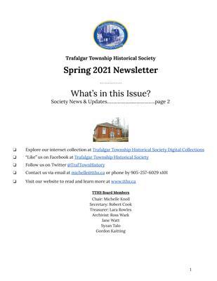 Trafalgar Township Historical Society Newsletter Spring 2021