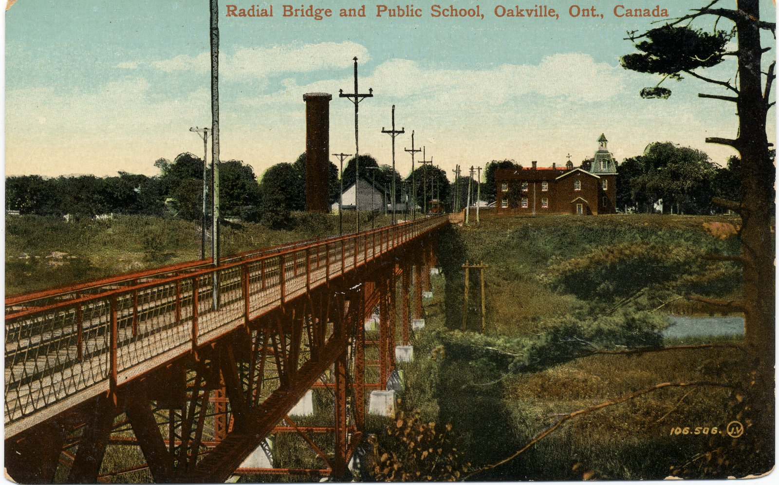 Postcard: Radial Bridge and Public School, Oakville, Ont., Canada