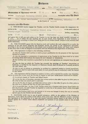 Teaching Contract Between Ethel Wettlaufer and the Trafalgar School Area, 1952