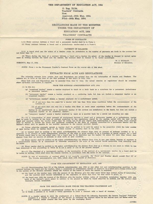 Teaching Contract Between Ethel Wettlaufer and the Trafalgar School Area, 1956