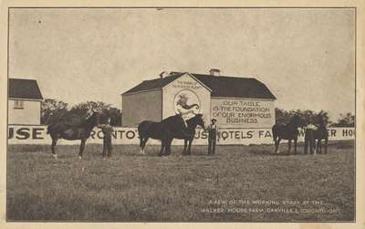 """Post Card: """"A Few of the Working Staff at the Walker House Farm, Oakville & Toronto, Ont."""""""
