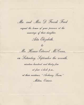 Wedding Invitation for Ada Ford and Homer McCann, 1935