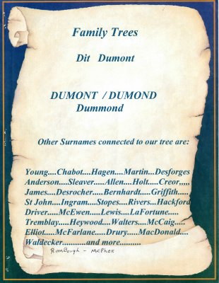 Dumont, Dumond, Dummond, Family Tree