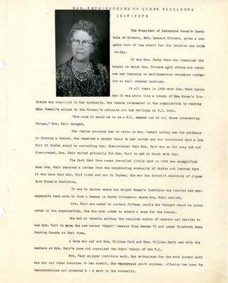 Tweedsmuir History, Princess Elizabeth Women's Institute