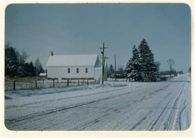 Livingston Creek United Church in Winter, Thessalon,  1960