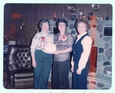 Nestorville Women's Institute Members: Marjorie, Carol and Ruby, 1984.
