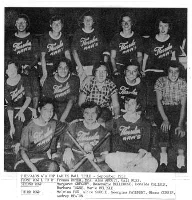 Thessalon A's COP Ladies Ball Team, Sept. 1953