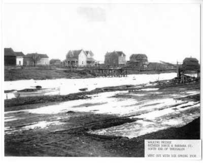 Walking Bridge, Between Dobie and Barbara, South end of Thessalon, circa 1930