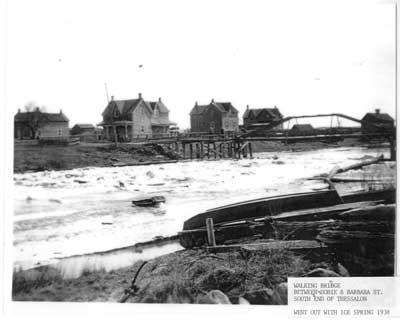 Walking Bridge, Dobie and Barbara Street, South end of Thessalon, circa 1930