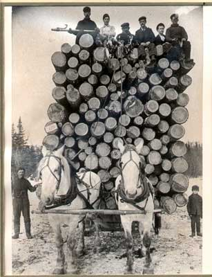 Brag Lumber Load, Thessalon, Ontario, circa 1900