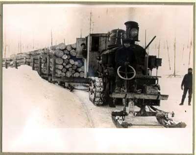Steam Driven Tractor Loaded with Logs, Algoma District, circa 1915