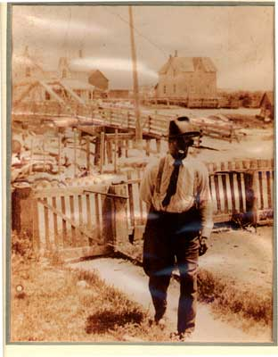 Man Near the Walking Bridge, Thessalon, circa 1930