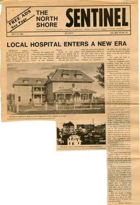 """Local Hospital Enters a New Era"", North Shore Sentinel Clipping, 1981"