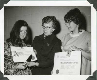 Christine Lundy Receives 4-H Advance Honour Certificate, circa 1973