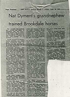 """""""Nat Dyment's grandnephew trained Brookdate horses"""", Sault Star Clipping, 1973"""