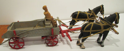 Hand Carved Reproduction of a Horse Cart (Created by Joe Briere)