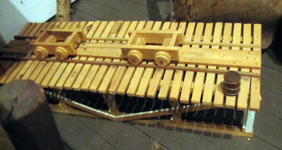 Wooden Replica of Tramway, ca 1950, part of Blind River sawmill site, (Created by Joe Sarazin)