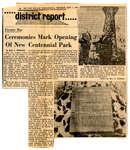 Official Opening of Centennial Park Newspaper Article