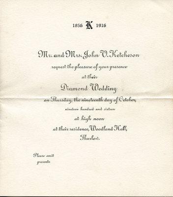Mr and Mrs John V Ketcheson's Diamond Anniversary Invitation