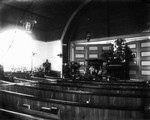 Interior New Presbyterian Church, decorated for a wedding, ca.1890's.  Cavendish, P.E.I.
