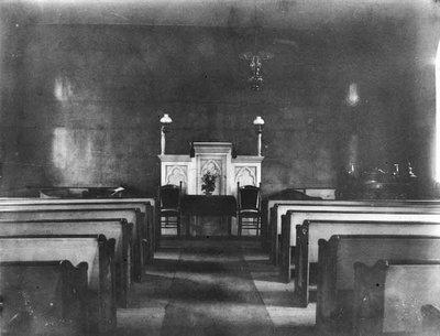 Interior of Old Baptist Church, ca.1890's.  Cavendish, P.E.I.