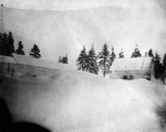 Old home, winter scene, evening of stormy day, ca.1890's.  Cavendish, P.E.I.