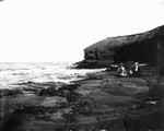 Cavendish shore with Emily & Tillie Campbell in foreground, ca. 1890's. Cavendish, P.E.I.
