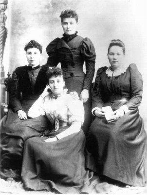 Lucy Maud Montgomery & P.W.C. school mates, ca.1894, P.E.I.  (Mary, Nell, Ida).