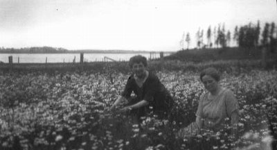 Lucy Maud Montgomery and Mrs. Evelyn Mutch, ca.1930's.  Cavendish, P.E.I.