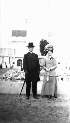 Ewan & Lucy Maud Montgomery in Scotland on honeymoon, 1911.  Glasgow, Scotland.