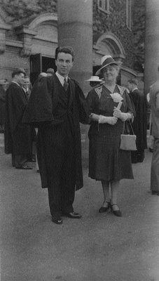 Lucy Maud Montgomery with Stuart, U. of T. graduation, May 1940, Toronto, ON.