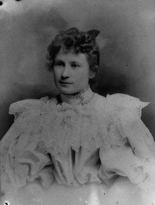 Laura Pritchard in her wedding dress, ca.1896.  Prince Albert, SK.
