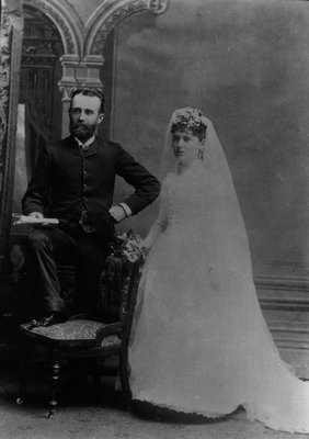 Wedding picture of Hugh John Montgomery (Lucy Maud Montgomery's father) & Mary Ann McCrae, his 2nd wife, ca.1889.  Prince Albert, SK.