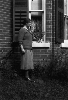 Myrtle Webb & Daffy the cat, ca.1936.  Norval, ON.