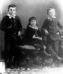 Wellington & David Nelson as boys and unidentified girl.  (Boys who lived with Lucy Maud Montgomery & grandparents while in P.E.I.), ca. late 1870's.  Cavendish, P.E.I.