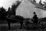 Mr. Crew - old Cavendish mailman, sitting in a buggy in front of Cavendish Homestead, ca.1890's.  Cavendish, P.E.I.